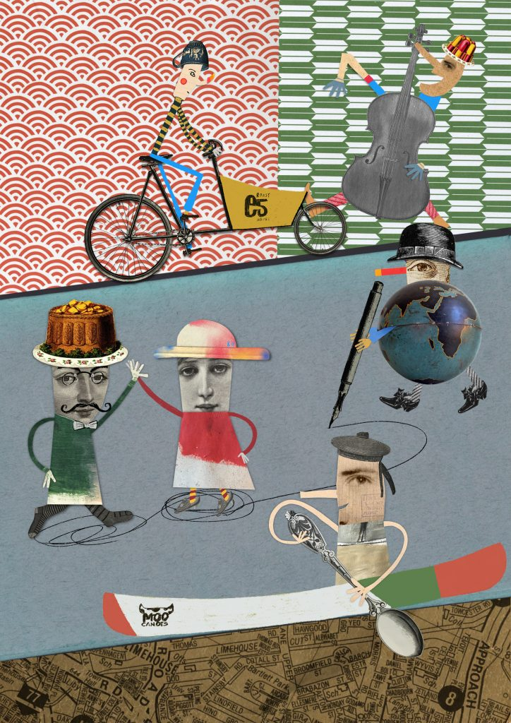 illustration cover page with different characters, dancers, canoe, cyclist and musician