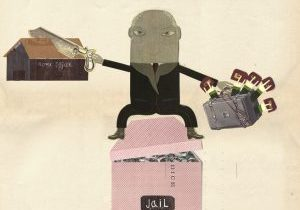collage illustration of a man sitting of a jail and sewing a box representing the home office